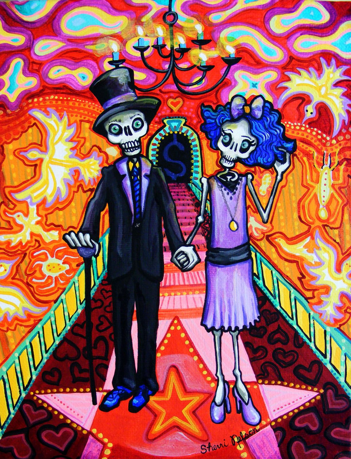 Day Of The Dead Art Calavera Wedding Print Sugar Skull Mexican