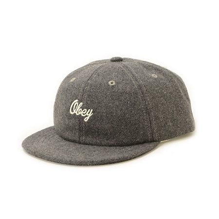 2e1749b8808b A grey wool throwback hat finished with an Obey embroidery Baseball Cap