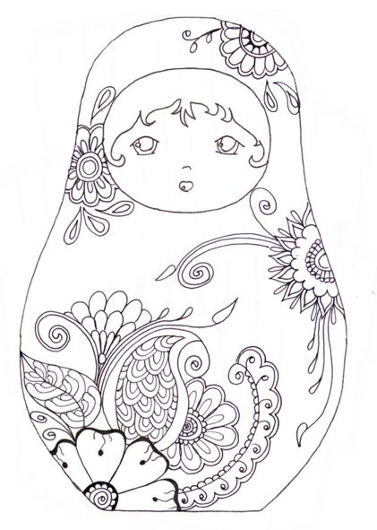 Coloriage poup e russe dessin anti stree pinterest - Coloriage russie ...