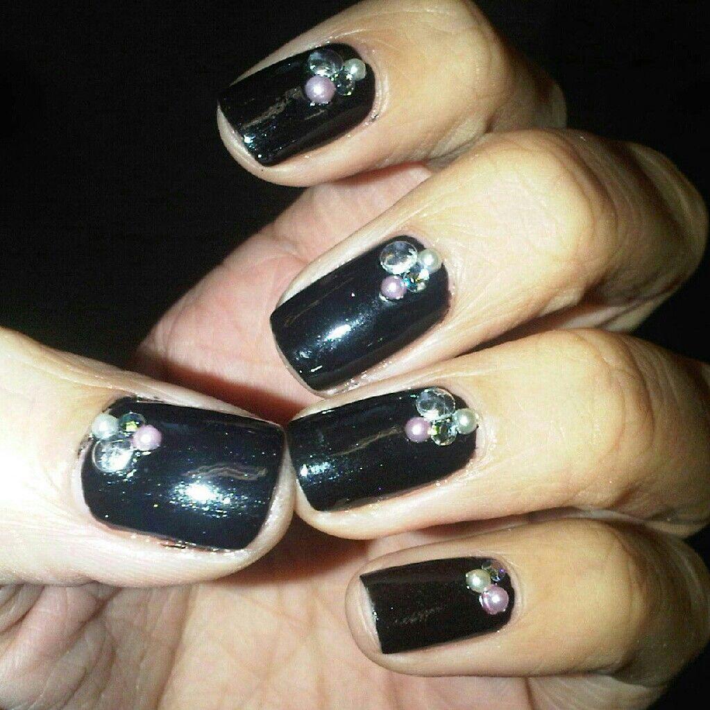 Black studed nails