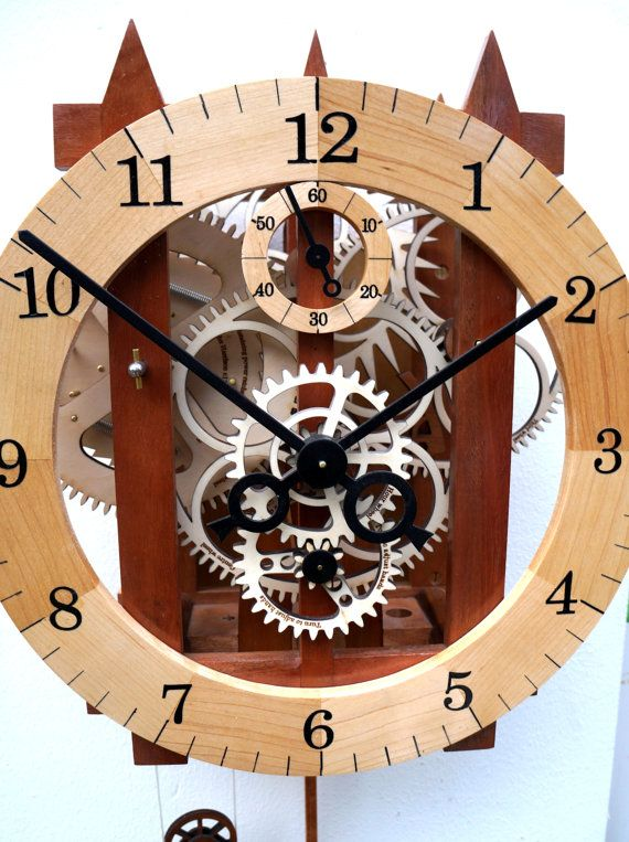 Large Wooden Mechanical Skeleton Wall Clock With By