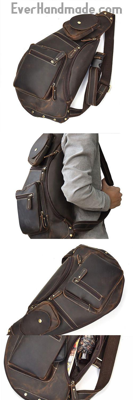 COOL LEATHER MENS SLING BAG SLING Shoulder BAG Chest Bags FOR MEN ... 5e04fd4a1aacf