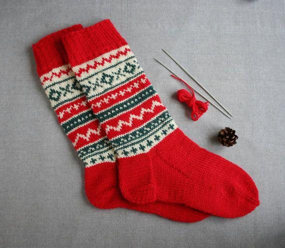Christmas stockings Christmas socks fair isle by MyKnitStudio | My ...