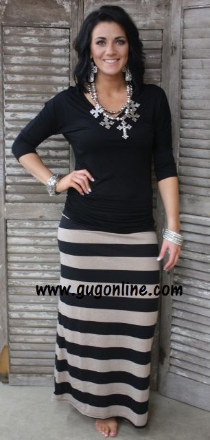 Line By Line Striped Maxi Skirt in Beige and Black- NOW IN PLUS ...