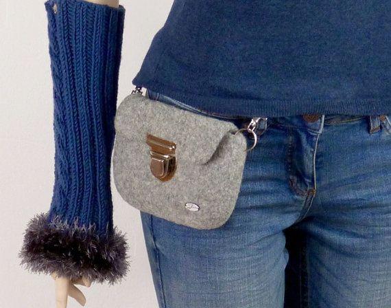 Photo of Grey waist bag, felted belt bag for women and men