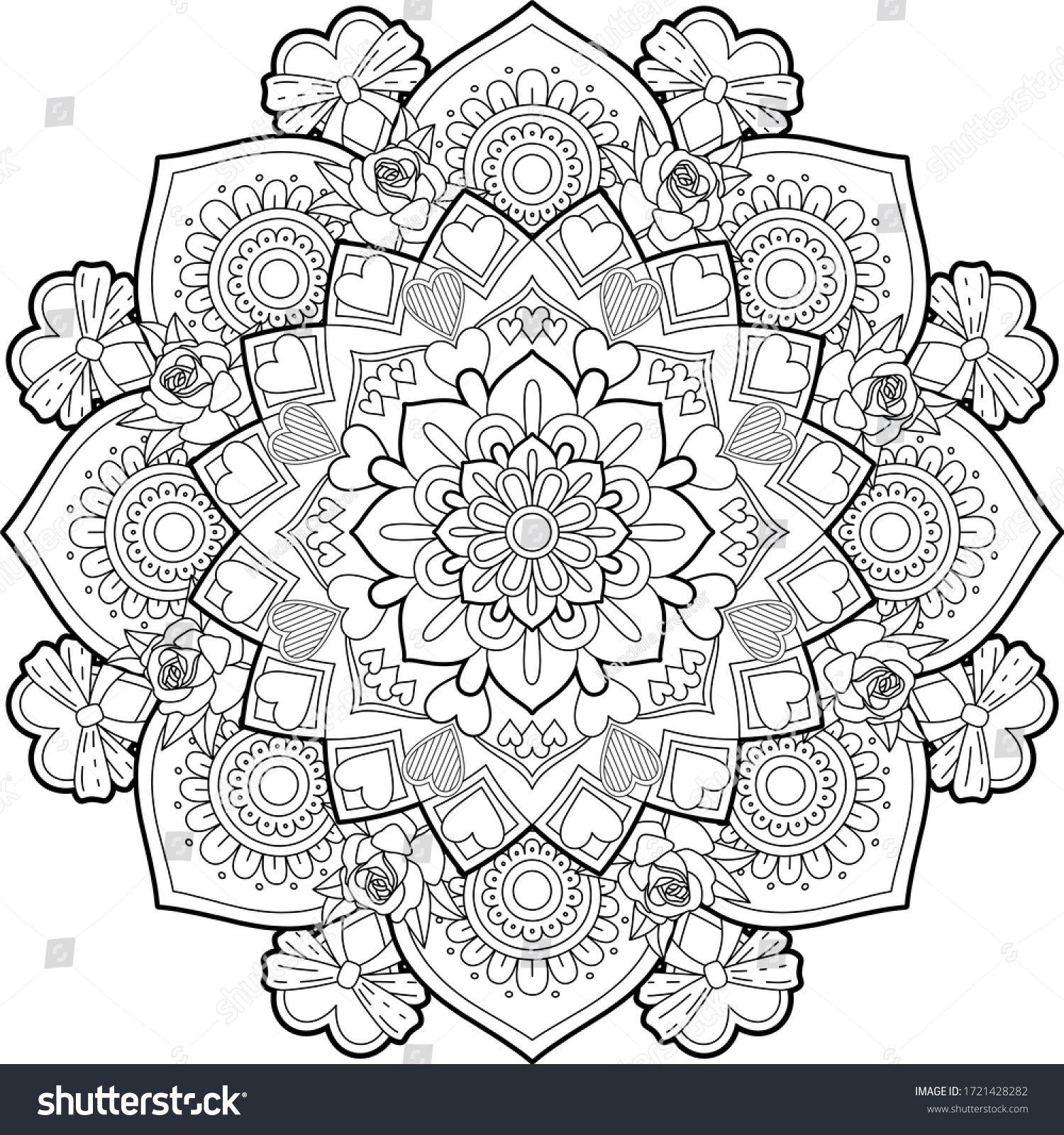 Hearts Roses Mandala Art Meditation Color ภาพประกอบสต อก 1721428282 ในป 2021 ม นดาลา ภาพประกอบ เล บ