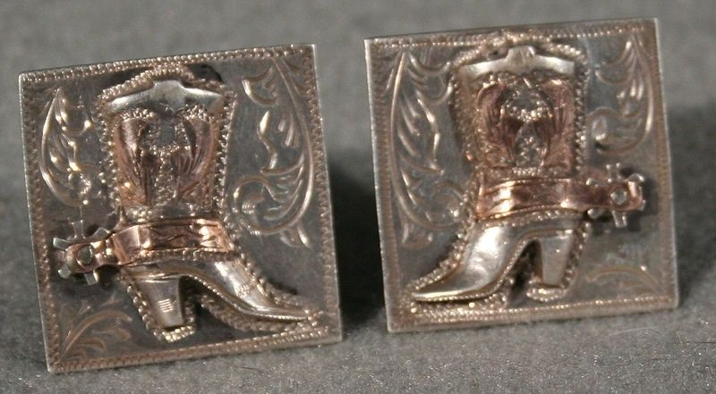 $245    Silver & Gold Boot Cuff Links, Jewelry by  Mexican, unknown artisan