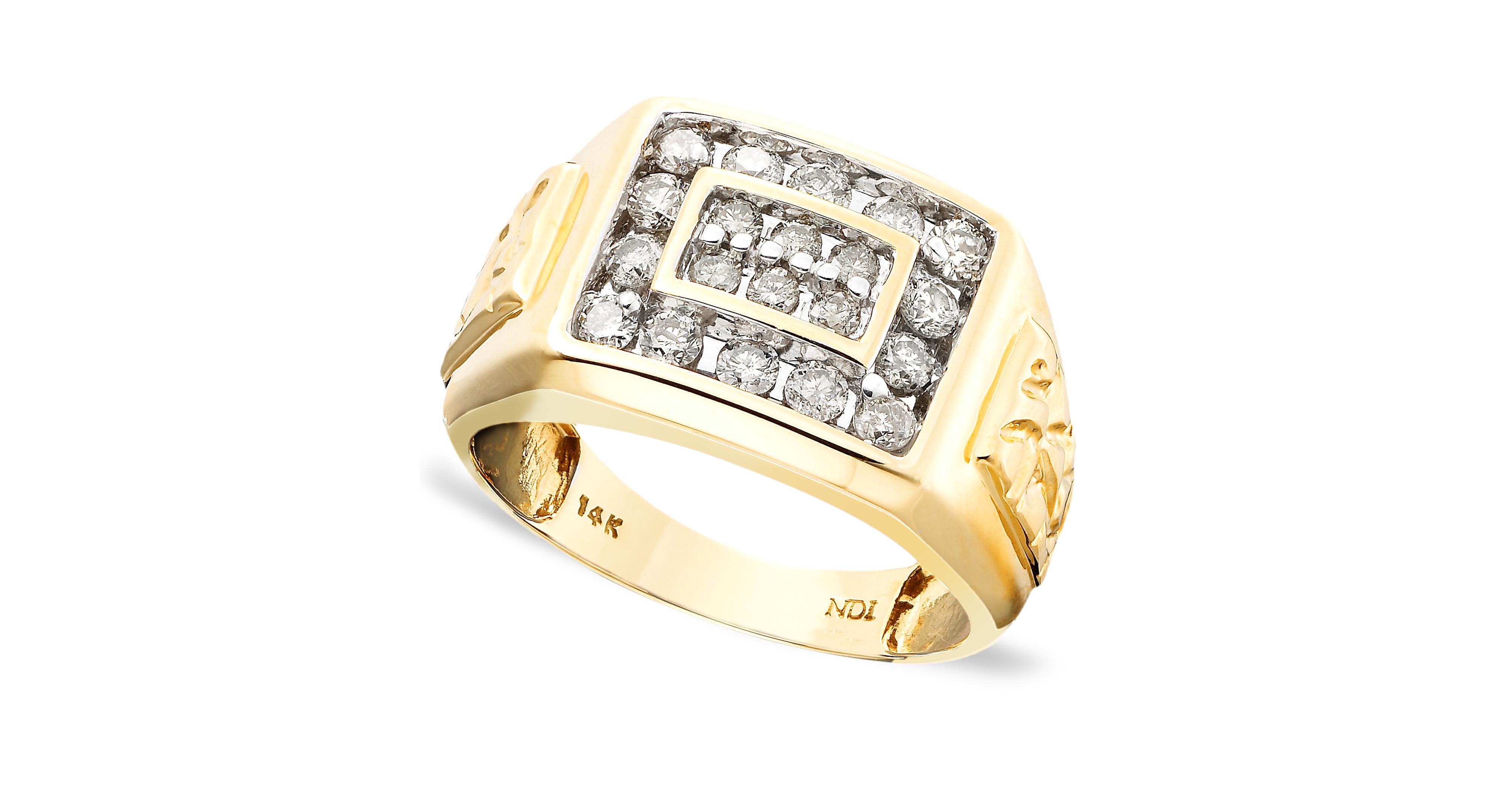 Men's 14k Gold Ring, Diamond (1 ct. t.w.) 14k gold ring