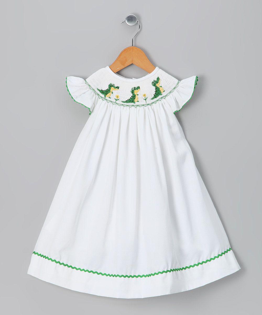 White Amp Green Alligator Bishop Dress Infant Toddler