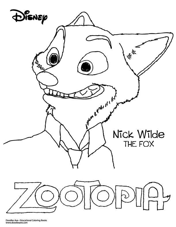 Zootopia Nick Wilde Delightful Doodles Coloring Fun Pinterest