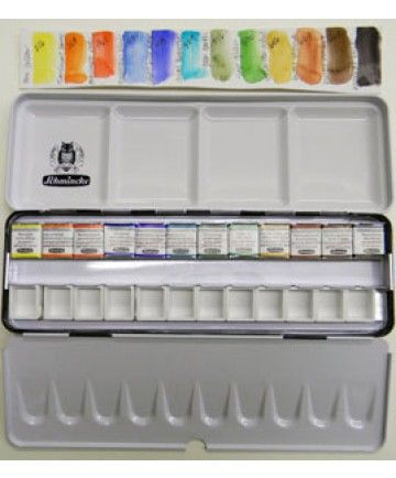 Schmincke Horadam Limited Edition 24 Half Pan Tin W 12 Colors And