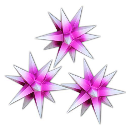 3 sterne beleuchtet lila mit wei en spitzen sternschmiede artnr 312 mit kompaktnetzteil. Black Bedroom Furniture Sets. Home Design Ideas