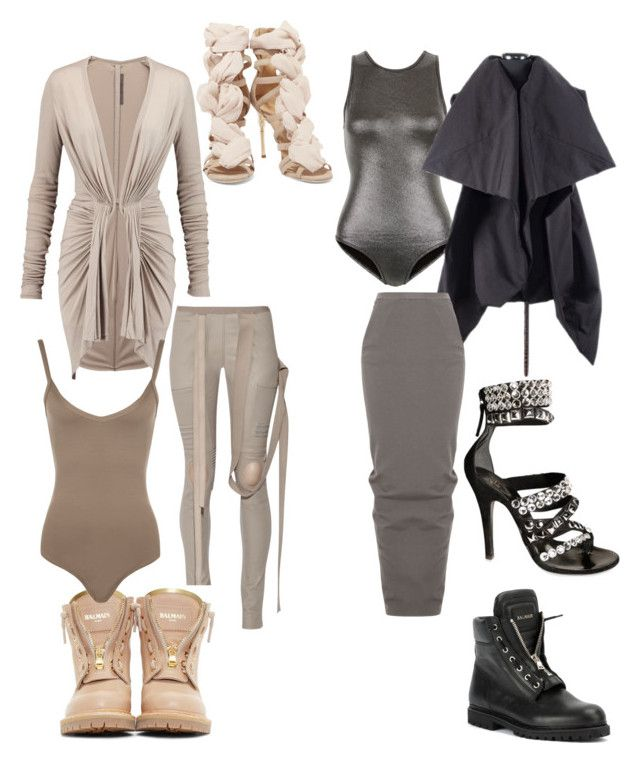 """Rick Owens x Balmain"" by fashionsince1987 on Polyvore featuring Rick Owens, New Look, Balmain, WearAll and Giuseppe Zanotti"