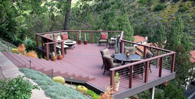 Hillside landscaping deck overlook for the outdoors for Cost of building on a steep slope