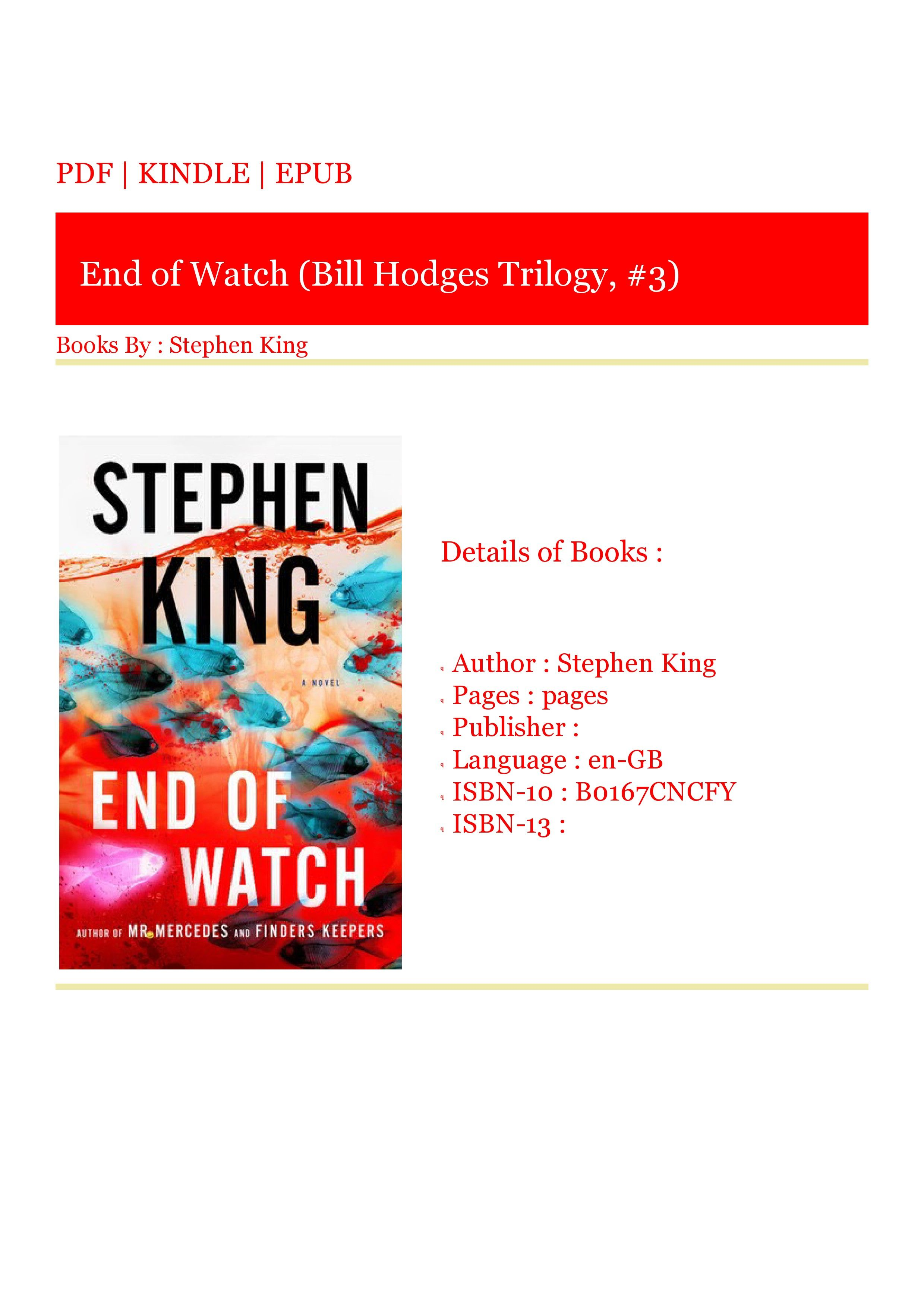 Download Pdf End Of Watch Bill Hodges Trilogy 3 Pdf Download Trilogy Personal Care