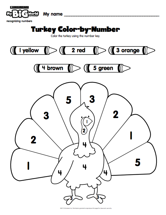Pre-K Students Use A Number Key To Color In A #turkey With This #prin…  Thanksgiving Activities Preschool, School Age Activities, Thanksgiving  Worksheets Preschool