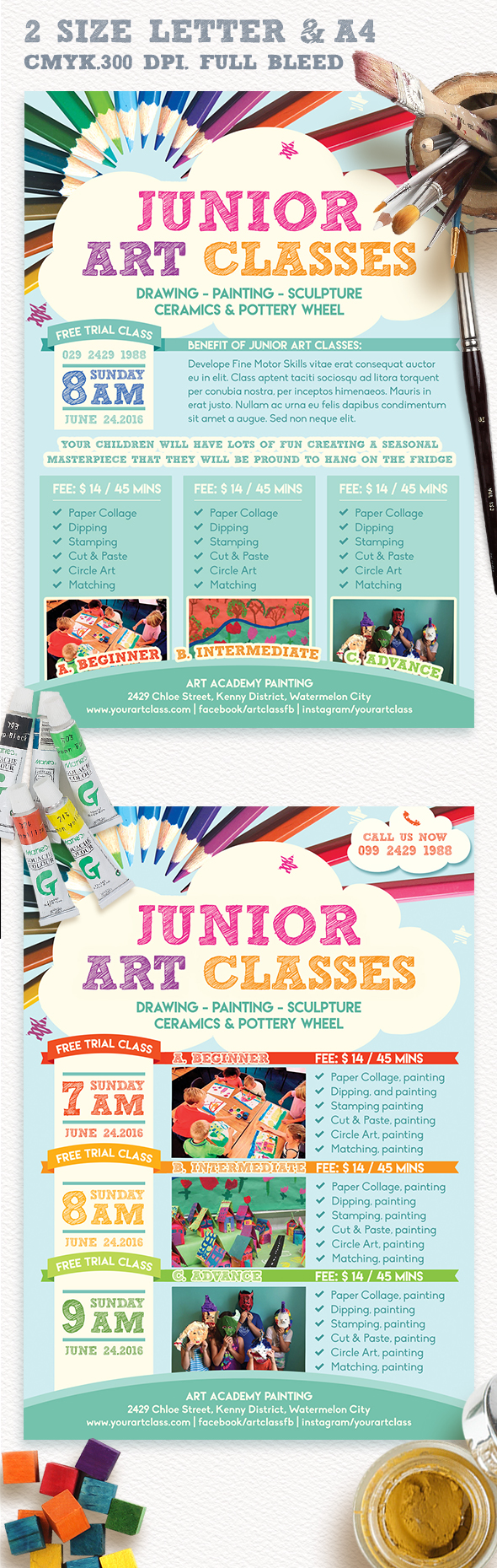 junior art trial class flyer template ceramics paper flyer template