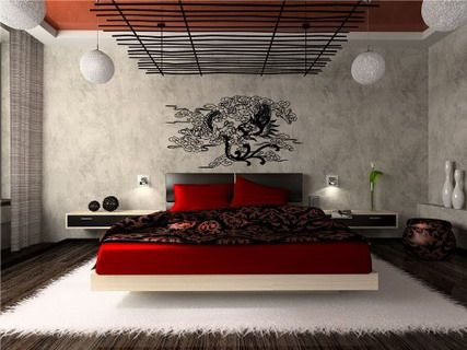 Modern Bedroom Red japanese modern bedroom interior design ideas with abstract vinyl