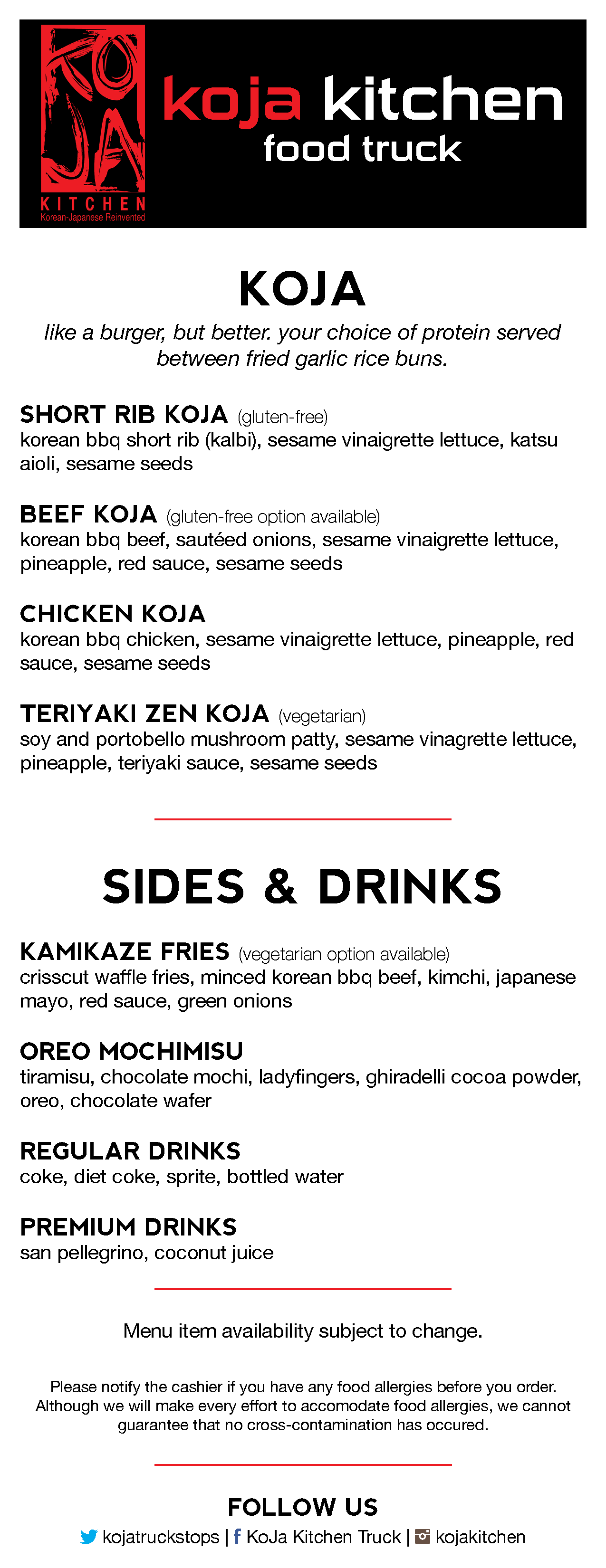 Koja Kitchen Menu Food Truck
