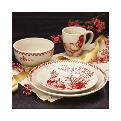 French Country Dinnerware Set 16 Piece Red \u0026 Natural Rooster Hens Kitchen Table #BonJour  sc 1 st  Pinterest & French Country Dinnerware Set 16 Piece Red \u0026 Natural Rooster Hens ...