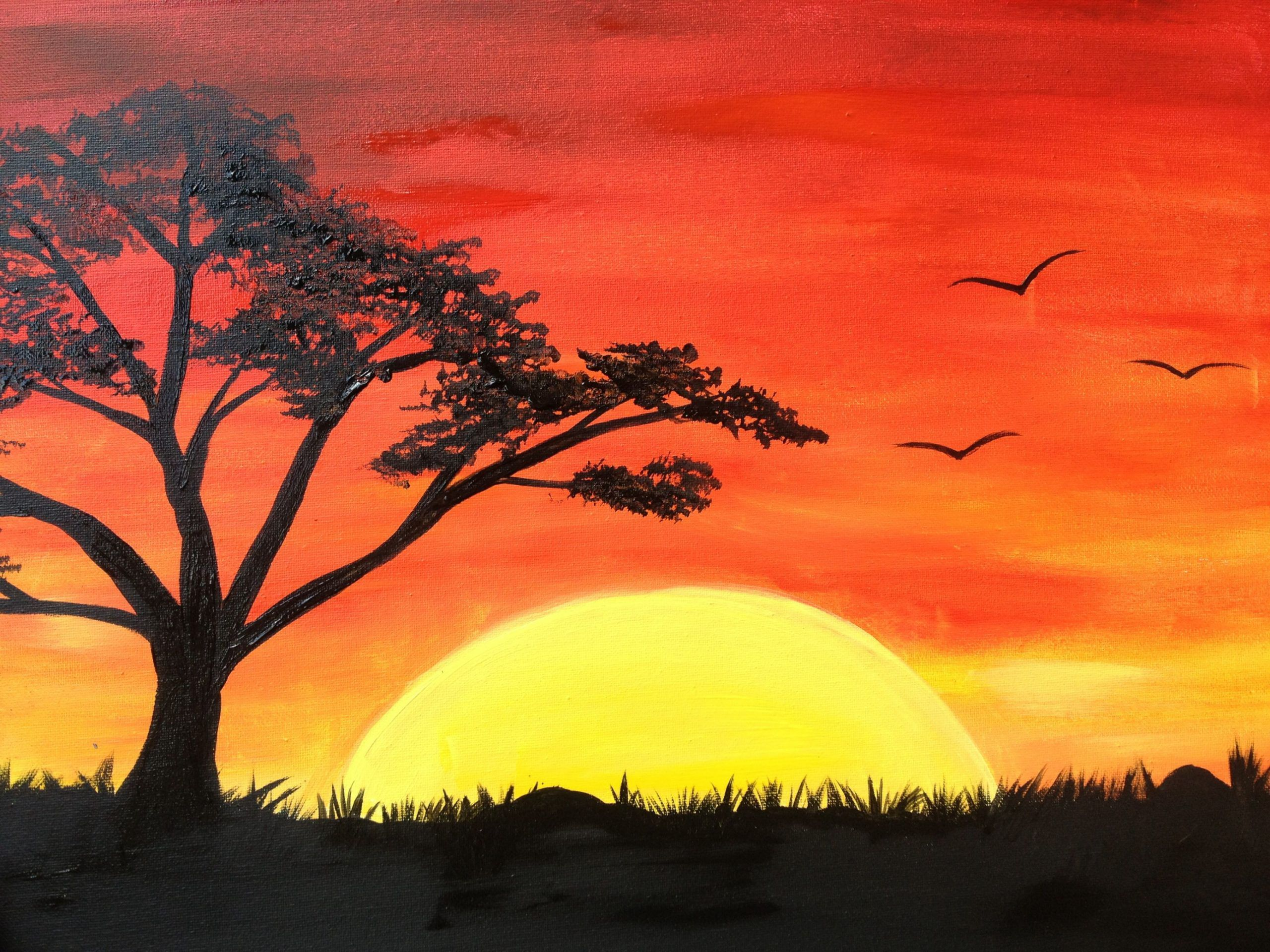 New Simple Landscape Paintings In 2020 Sunrise Painting Sunrise Drawing Landscape Drawings