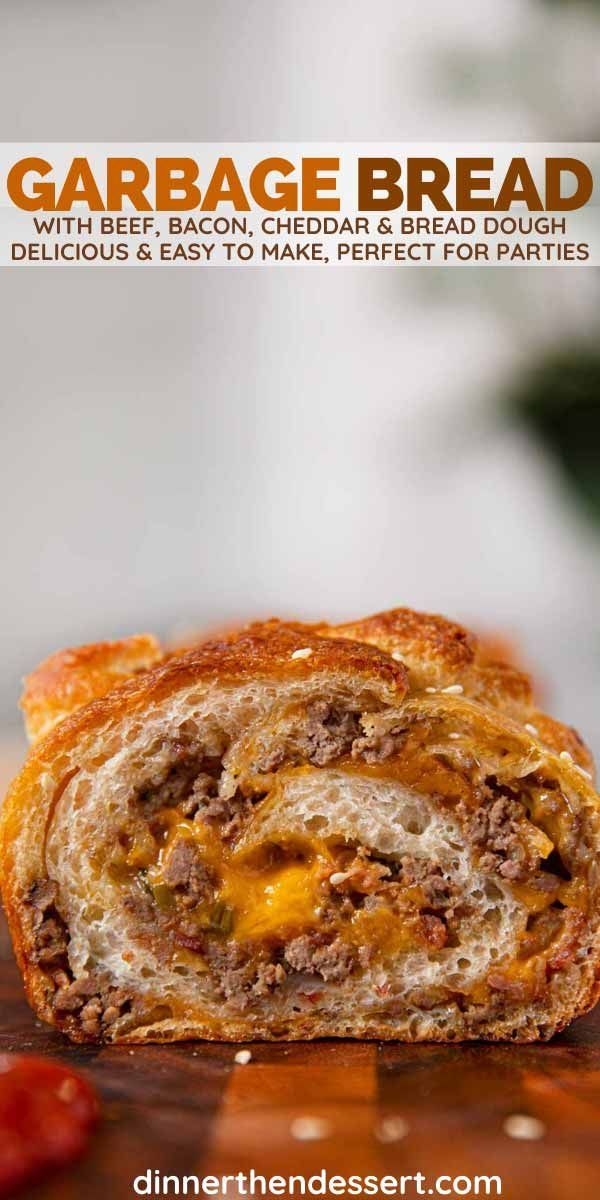 Garbage Bread (Cheesy Beef & Bacon) A delicious party appetizer bread filled with beef, bacon and c