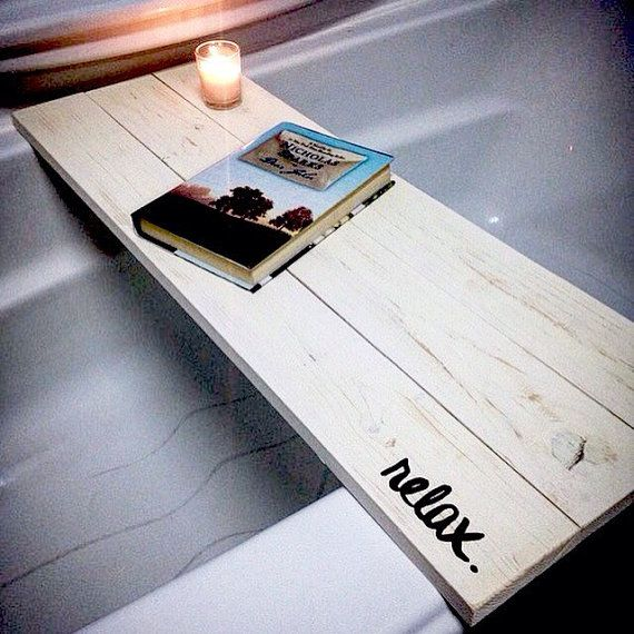 SALE Bath Tub Tray Caddy, Bath Tray, Bath Caddy, White Rustic Relax, Rustic Bathroom Decor