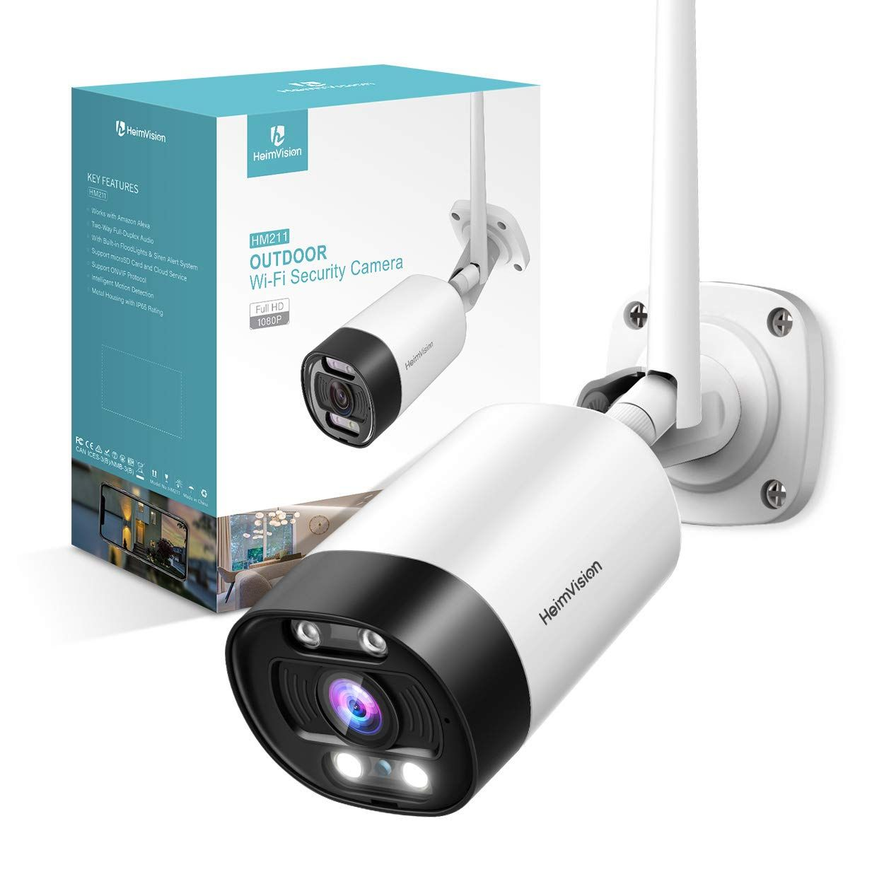 Night Vision, 1080p Full HD Wi-Fi Camera with Audio Outdoor Security Camera
