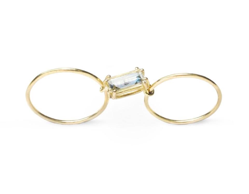 Rectangle Double ring gold by Sara Lasry slim jewelry www.saralasry.com