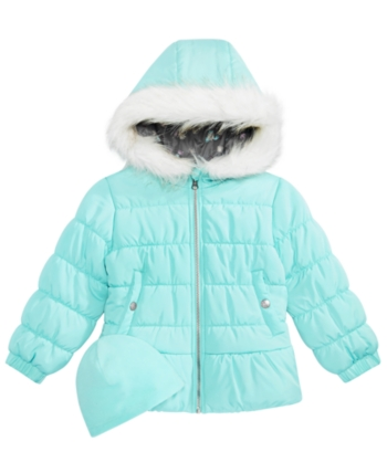 9cc4e9bacefa Weathertamer Little Girls Quilted Puffer Jacket   Matching Hat ...