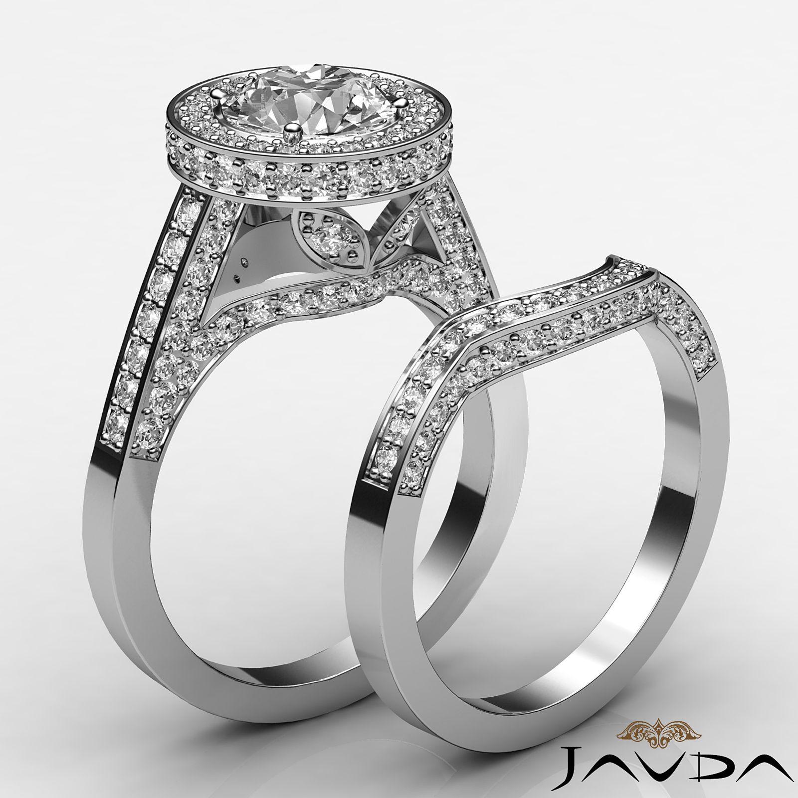 3ct Round Diamond Halo Pave Engagement Bridal Set Ring GIA