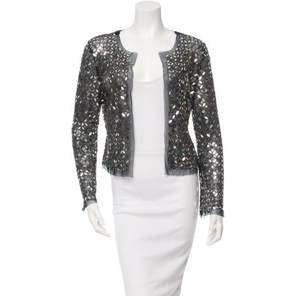 Tory Burch Sequin Embellished Mesh cardigan ($95) ❤ liked on ...