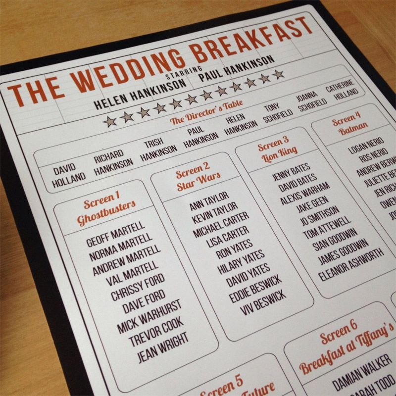 101 Great Ideas For Your Wedding Table Names Wedding Table Themes Cinema Wedding Seating Plan Wedding