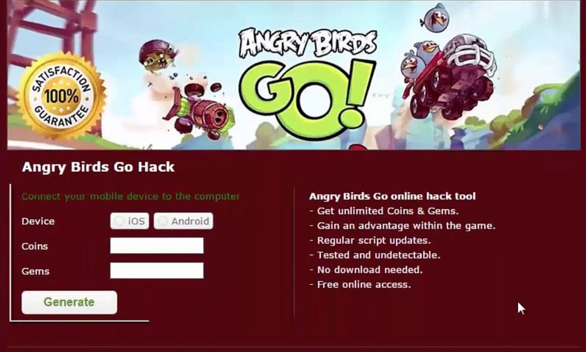 angry birds go hack unlimited coins and gems download