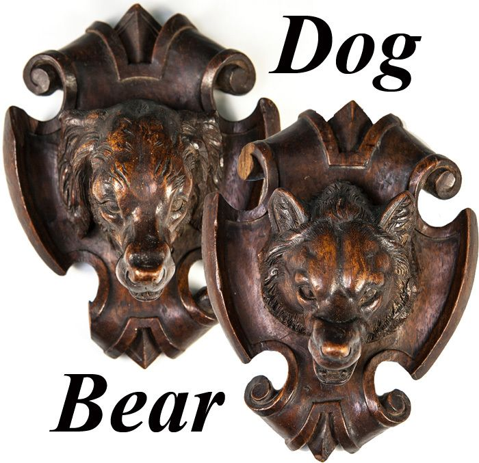 Hand Carved Antique Black Forest Dog and Bear Wall Plaques, Pair - Look!