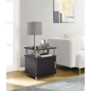 Ameriwood Home Carson End Table With Storage Espresso Silver Walmart Com Sofa End Tables Coffee Table Modern Furniture Living Room