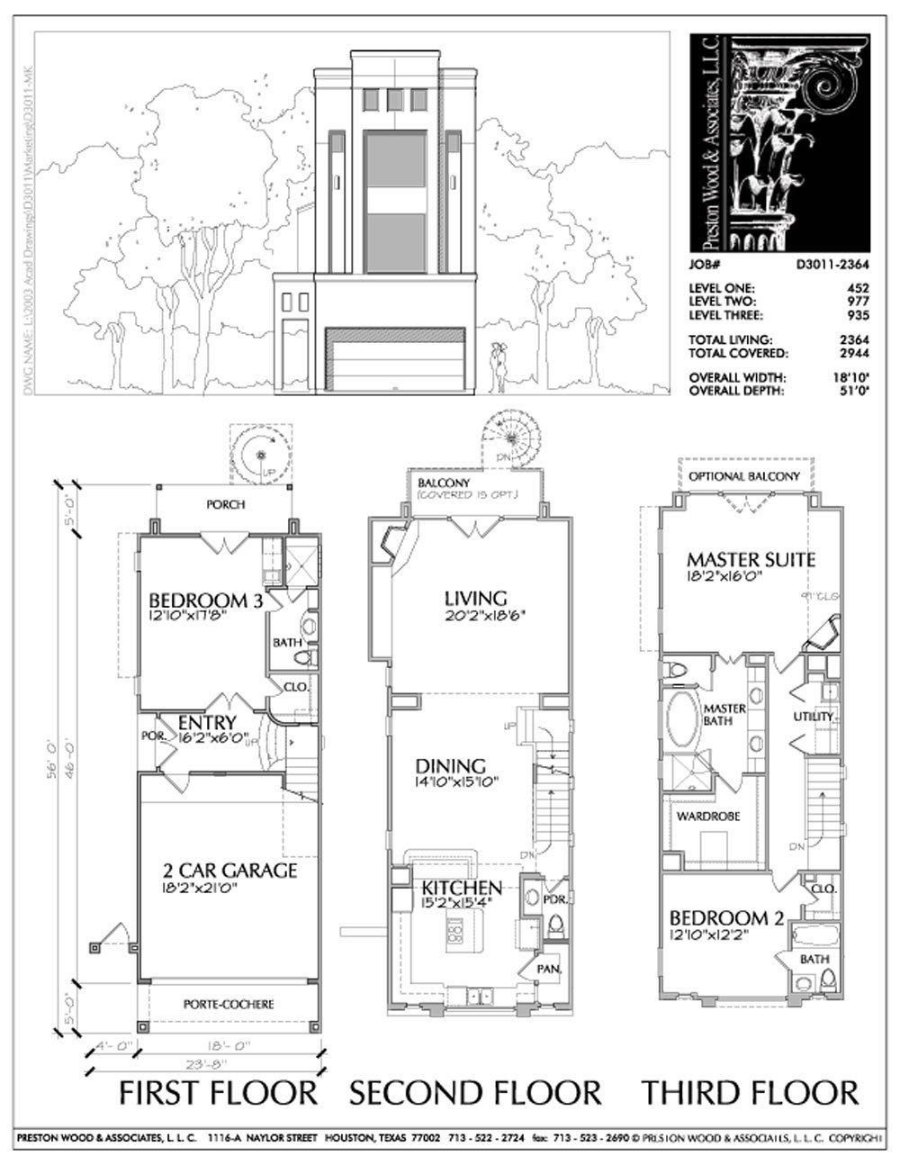 Three Story Townhouse Plan D3011 Town House Floor Plan Narrow House Plans Architectural Floor Plans