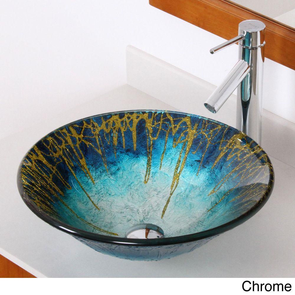 Elite Modern Design Tempered Glass Bathroom Vessel Sink/ Faucet ...