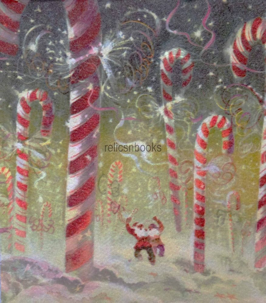 1566 60s Tyrus Wong Candy Cane Forest- Vintage Christmas Card ...