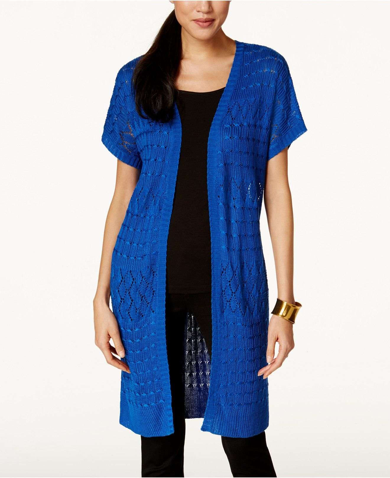 NY Collection Open-Knit Duster Cardigan - Sweaters - Women ...