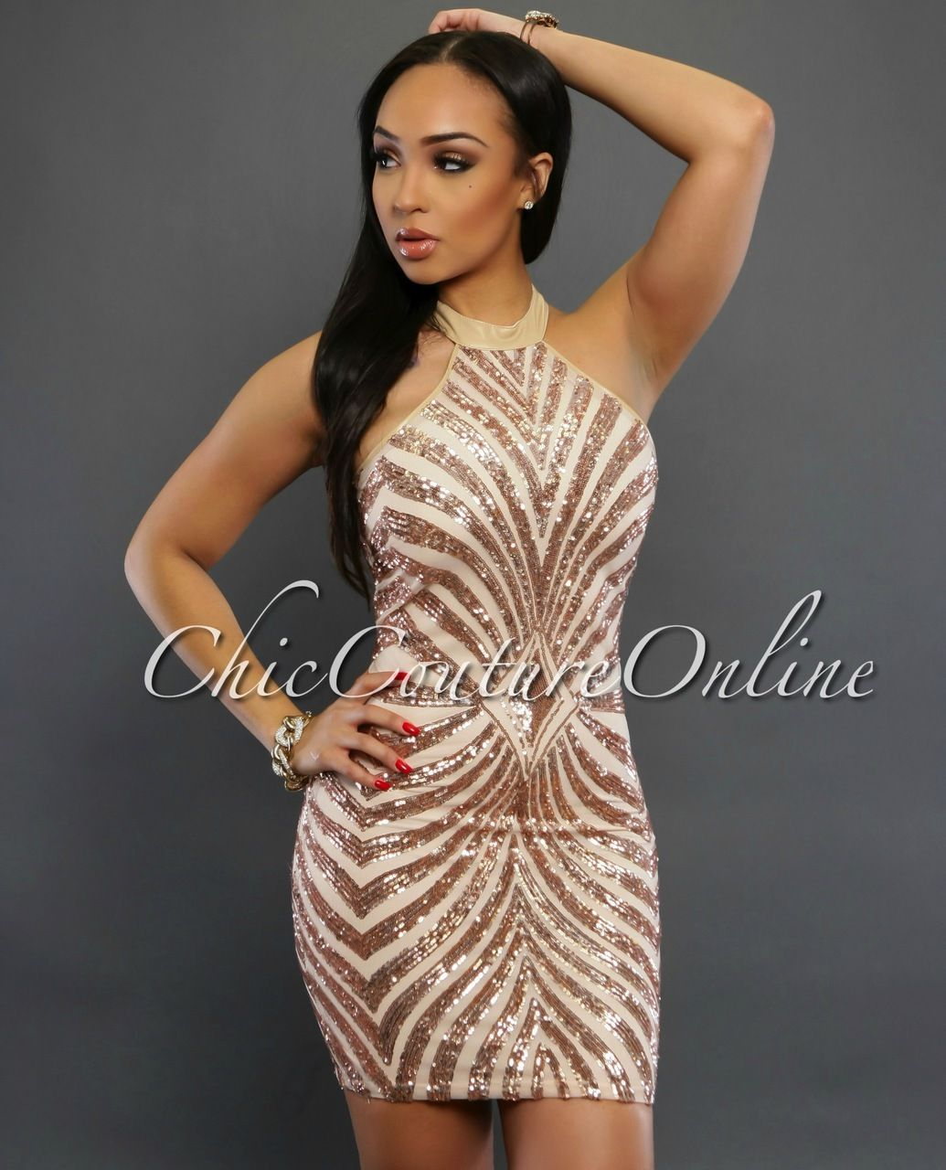 Chic Couture Online - Amaris Rose Gold Sequins Dress, (http://www ...