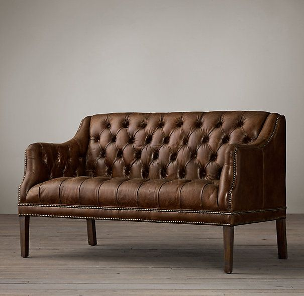 Everett Tufted Leather Settee Bed Sofa And Chairs From Restoration Hardware Pinterest