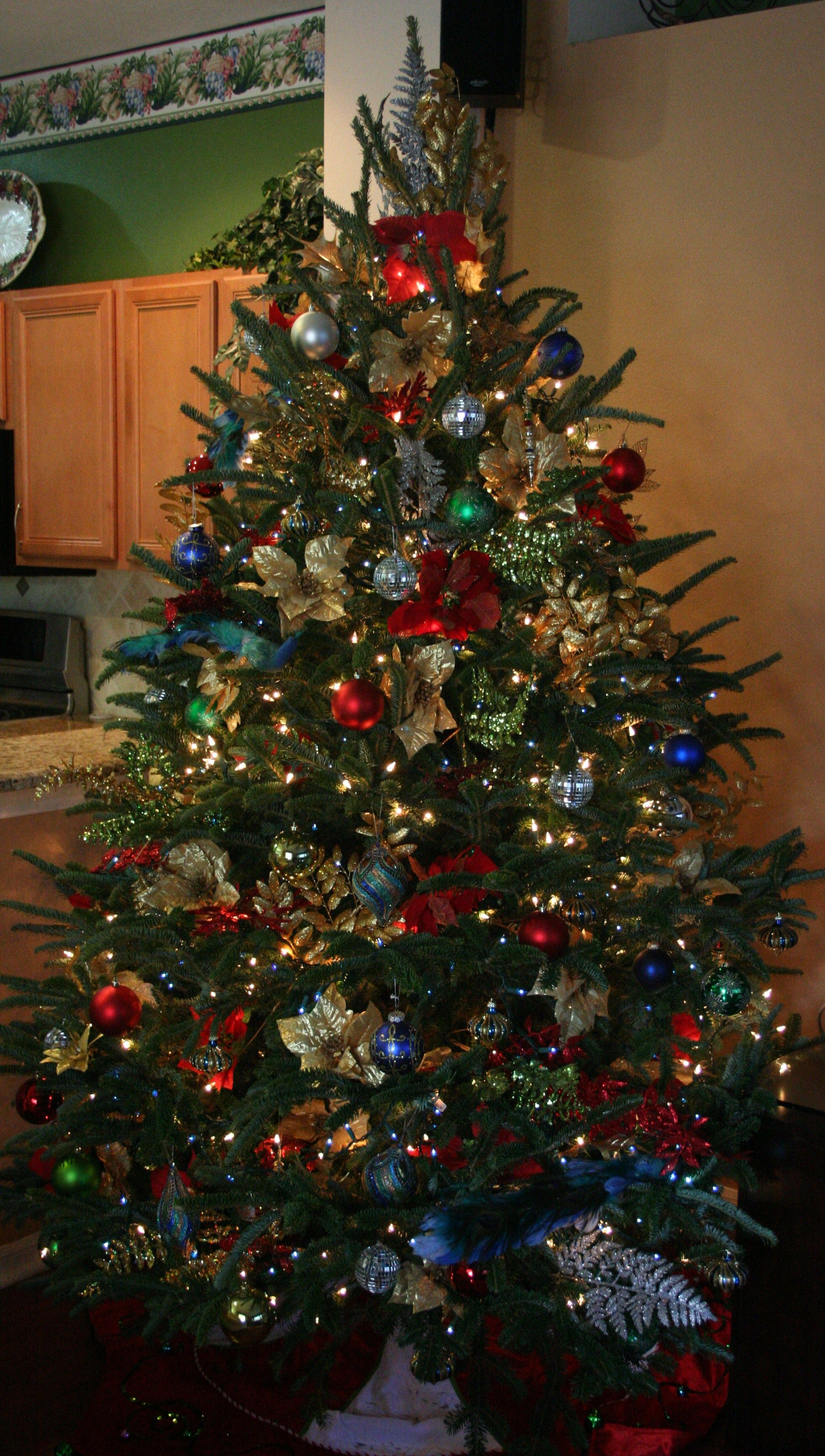 Blue Green Red Christmas Tree With Gold Silver Accents Red And Gold Christmas Tree Red Christmas Tree Green Christmas Tree