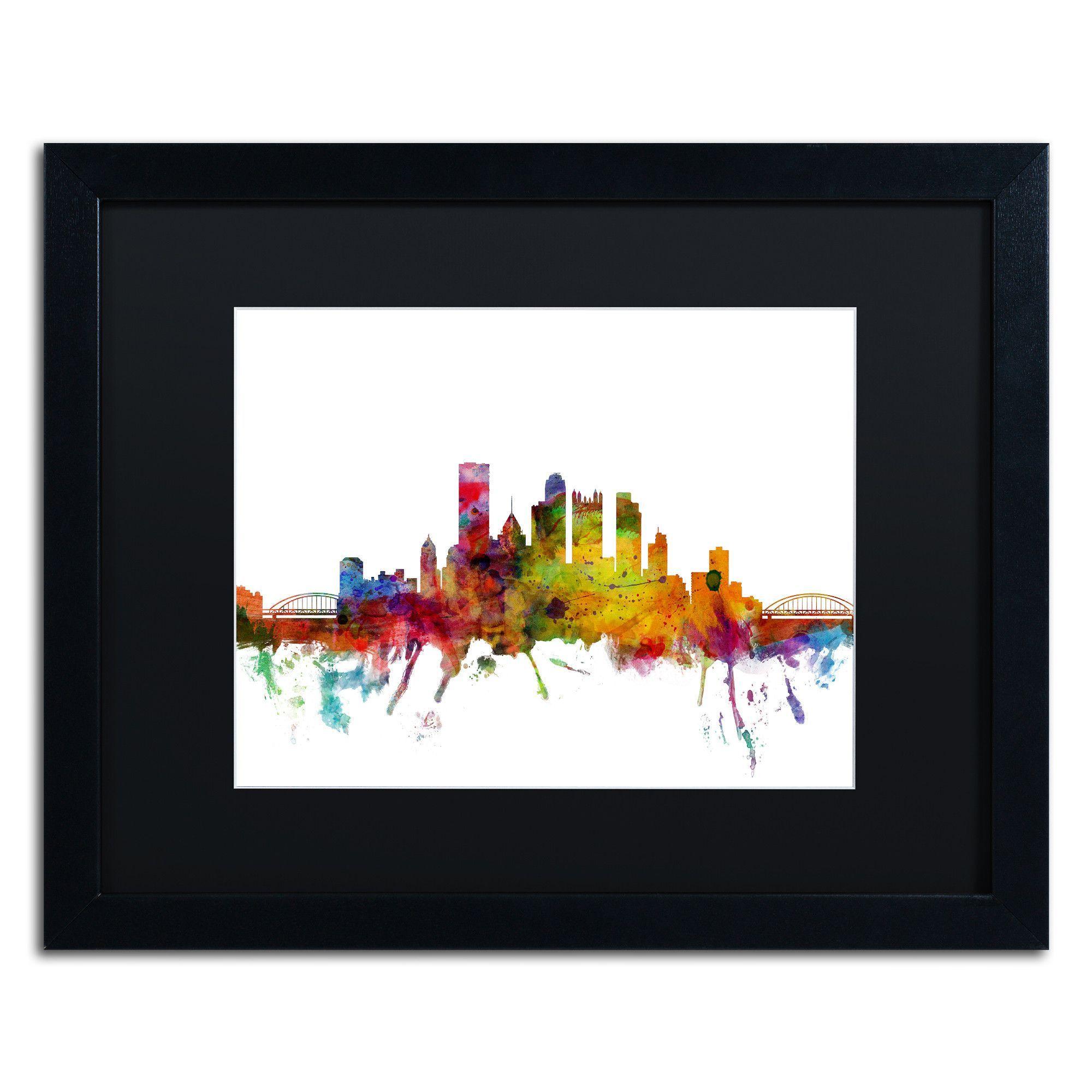 Pittsburgh Pennsylvania Skyline by Michael Tompsett Framed Graphic ...
