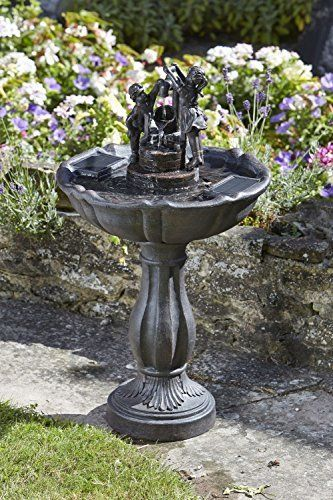 Small Solar Ed Water Feature Ornamental Tipping Pail Garden Fountain Bird Bath A Traditional Style Which The Birds Will Love