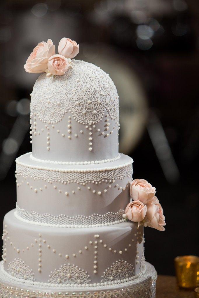 Elegant Grey And White Vintage Wedding Cake With Pearls And Lace. |  Photography By Jana Marie Photography | |Kansas City Wedding Cakes|  #munaluchibride ...
