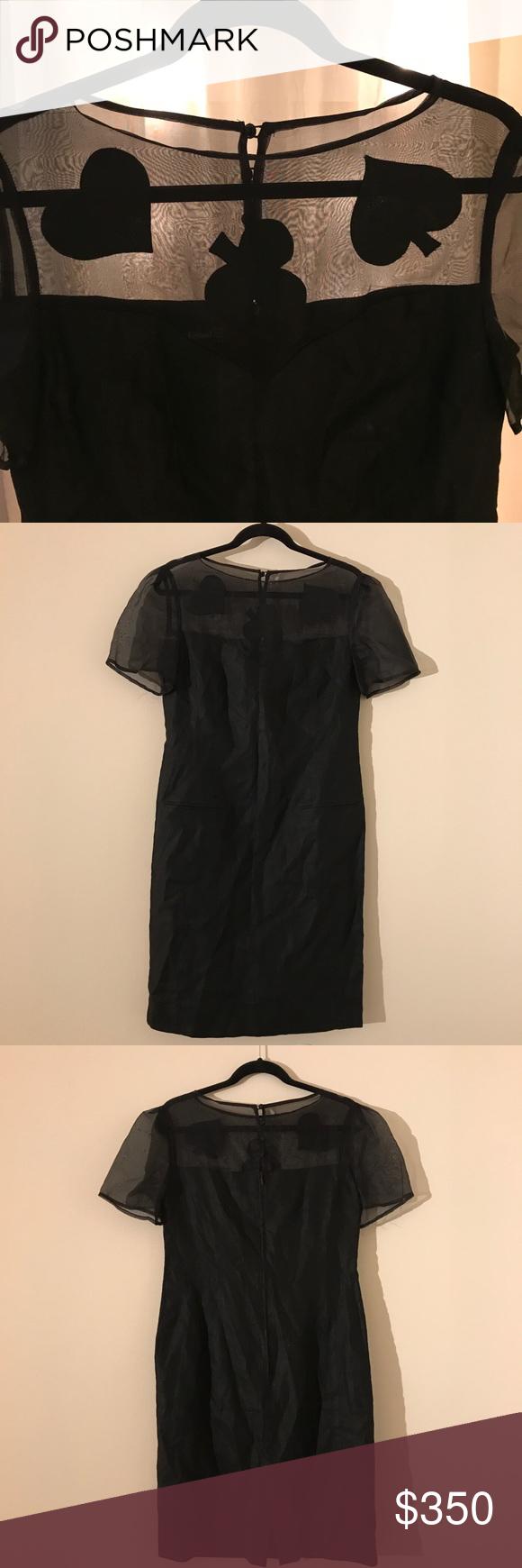 Louis Feraud Black Dress With Sheer Sheer Top Sheer Top Classy Dress Black Dress [ 1740 x 580 Pixel ]
