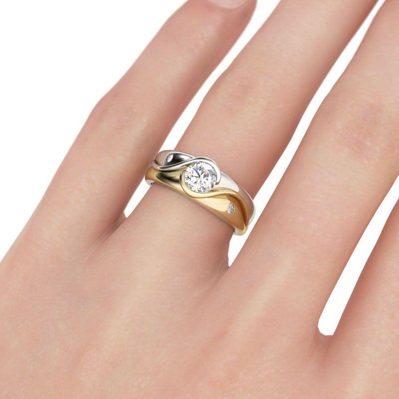 92624c352b2 JEULIA 0.79 CTW Solitaire Engagement Ring 2 Tone Round Cut Created White  Sapphire