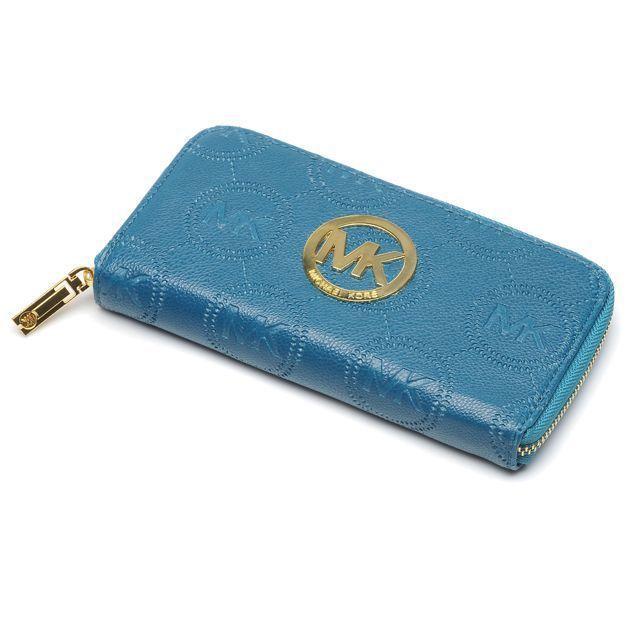 Michael Kors Logo Monogram Signature Large Blue Wallets