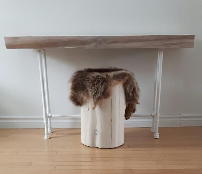 White Entrance Table live edge white wash cedar slab entrance table with white pipe
